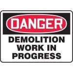 "Accuform MCRT111VA, Aluminum OSHA Sign ""Demolition Work in Progress"""