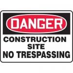 "Accuform MCRT115VA, OSHA Sign ""Construction Site No Trespassing"""