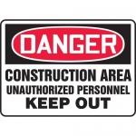 "Accuform MCRT132XL, Sign ""Danger Construction Area Unauthorized…"""