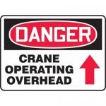 """Accuform MCRT144VA, Sign """"Crane Operating Overhead"""" & Up Arrow Symbol"""