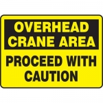 """Accuform MCRT512VP, Sign """"Overhead Crane Area Proceed with Caution"""""""