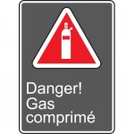 "Accuform MCSA115VA, Aluminum CSA French Sign ""Danger! Gas Comprime"""
