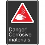 "Accuform MCSA150VP, Plastic Sign ""Danger! Corrosive Materials"""