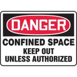 """Accuform MCSP023XP, Sign """"Confined Space Keep Out Unless Authorized"""""""