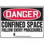 "Accuform MCSP032XP, Sign ""Confined Space Follow Entry Procedures #_"""
