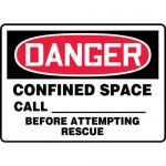 "Accuform MCSP060XL, Sign ""Confined Space Call_Before Attempting…"""