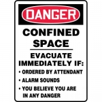 """Accuform MCSP064XP, Sign """"Confined Space Evacuate Immediately if…"""""""