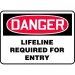 "Accuform MCSP081VA, Aluminum OSHA Sign ""Lifeline Required for Entry"""
