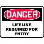 "Accuform MCSP081XV, Dura-Vinyl OSHA Sign ""Lifeline Required for Entry"""