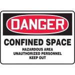 "Accuform MCSP104XV, OSHA Sign ""Confined Space Hazardous Area…"""