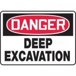 """Accuform MCSP184VA, Aluminum OSHA Sign """"Danger Deep Excavation"""""""