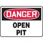 "Accuform MCSP186XT, Dura-Plastic OSHA Sign ""Danger Open Pit"""