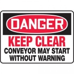 """Accuform MECN105XF, Sign """"Keep Clear Conveyor May Start without …"""""""