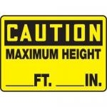 """Accuform MECR609VP, Plastic Sign """"Maximum Height _ Ft. _ In."""""""