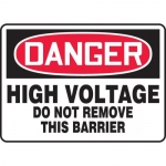 """Accuform MELC012XT, Sign """"High Voltage Do Not Remove This Barrier"""""""