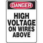 "Accuform MELC013VP, Plastic Sign ""Danger High Voltage on Wires Above"""