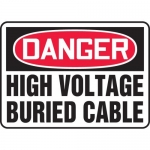 """Accuform MELC030VP, Plastic Sign """"Danger High Voltage Buried Cable"""""""