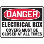 """Accuform MELC036VP, Sign """"Electrical Box Covers Must Be Closed…"""""""