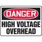 "Accuform MELC038VP, Plastic Sign ""Danger High Voltage Overhead"""