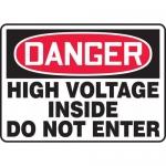 "Accuform MELC041VP, Plastic Sign ""High Voltage Inside Do Not Enter"""