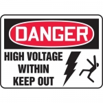 """Accuform MELC049VA, Aluminum Sign """"High Voltage Within Keep Out"""""""