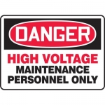 """Accuform MELC051VP, Sign """"High Voltage Maintenance Personnel Only"""""""