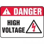 "Accuform MELC064XT, 10″ x 14″ Dura-Plastic ANSI Sign: ""High Voltage"""