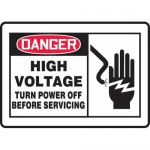 """Accuform MELC070VA, Sign """"High Voltage Turn Power Off Before …"""""""