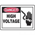 "Accuform MELC077VA, 10″ x 14″ Aluminum OSHA Sign: ""High Voltage"""
