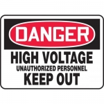 """Accuform MELC082VP, Sign """"High Voltage Unauthorized Personnel Keep…"""""""