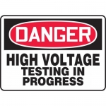 """Accuform MELC094XT, Sign """"High Voltage Testing in Progress"""""""