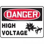 """Accuform MELC124VP, Plastic Sign """"Danger High Voltage"""" & Symbol"""