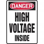 """Accuform MELC134VP, Plastic Sign """"Danger High Voltage Inside"""""""