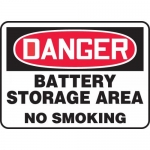 "Accuform MELC142XL, Sign ""Danger Battery Storage Area No Smoking"""