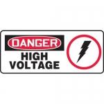 """Accuform MELC153VA, Aluminum Sign """"Danger High Voltage"""" & Symbol"""