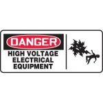 """Accuform MELC170XT, Sign """"Danger High Voltage Electrical Equipment"""""""
