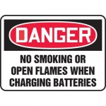"""Accuform MELC176XV, Sign """"No Smoking or Open Flames When Charging…"""""""