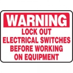 "Accuform MELC317XV, Sign ""Lock Out Electrical Switches Before…"""