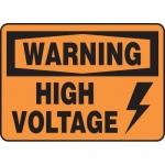 "Accuform MELC320VP, Plastic Sign ""Warning High Voltage"" & Symbol"