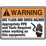 "Accuform MELC362VP, Plastic Sign ""Warning Arc Flash and Shock Hazard"""