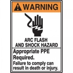 "Accuform MELC365VP, ANSI Sign ""Warning Arc Flash and Shock Hazard"""