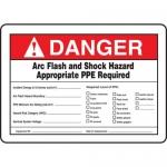 "Accuform MELC368VS, Vinyl Sign ""Danger Arc Flash and Shock Hazard"""