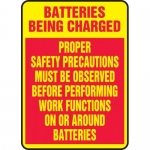 "Accuform MELC500VA, Sign ""Batteries Being Charged Proper Safety…"""