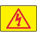 "Accuform MELC504XT, Dura-Plastic Sign ""High Voltage & Hazard Symbol"""