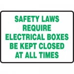 """Accuform MELC505XT, Sign """"Safety Laws Require Electrical Boxes…"""""""