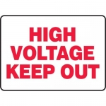 """Accuform MELC513VP, 10″ x 14″ Plastic Sign: """"High Voltage Keep Out"""""""
