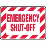 "Accuform MELC518VS, Vinyl Sign with Legend ""Emergency Shut Off"""