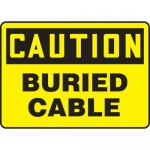 """Accuform MELC603VA, 10″ x 14″ Aluminum Sign: """"Caution Buried Cable"""""""