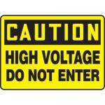 "Accuform MELC604VP, Plastic Sign ""Caution High Voltage Do Not Enter"""