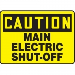 """Accuform MELC610XF, Sign """"Caution Main Electric Shut-Off"""""""